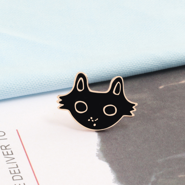 "Funny Face Brooches Pin Buttons Monkey Panda ""AWESOME"" Cat Pin Badges Metal Buckles Denim Collar Shirt Accessories Women Jewelry"