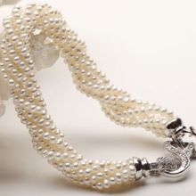 Красивый пять пряди Природный Южных морей белый жемчужное ожерелье 20 дюймов