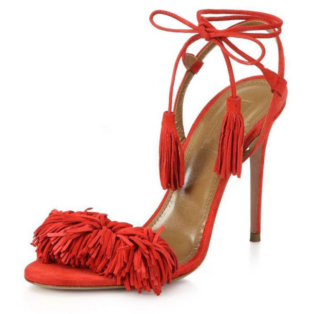 ФОТО 2016 New fashion Customize Solid Stiletto Women's Shoes Lace Up High Heel Tassel Sandals Fringe Peep toe pumps big size5-15