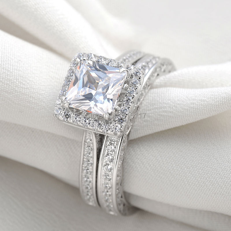ship from us silver plated aaa cz princess cut wedding ring set engagement band classic jewelry - Princess Wedding Ring