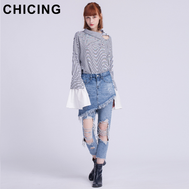 CHICING Two Pieces Hole Slim Trousers Ankle Length Skinny Washed