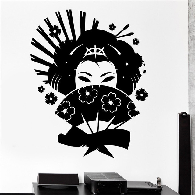 Wall Decal Geisha Japan Oriental Woman Fan Girl Decor Vinyl Stickers  Loveru0027s Bedroom Wall Decals Mural
