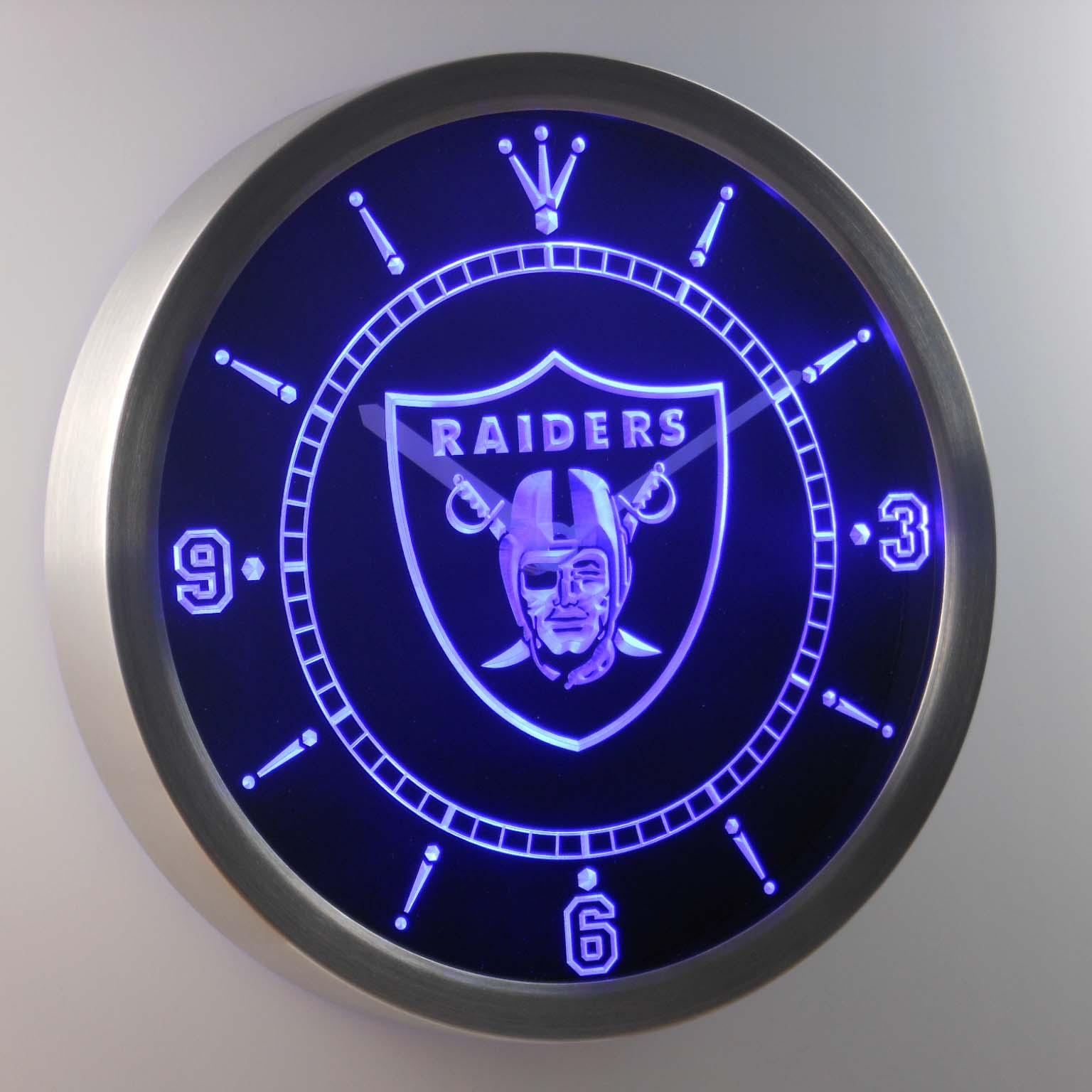 Oakland Raiders Neon Sign Led Wall Clock