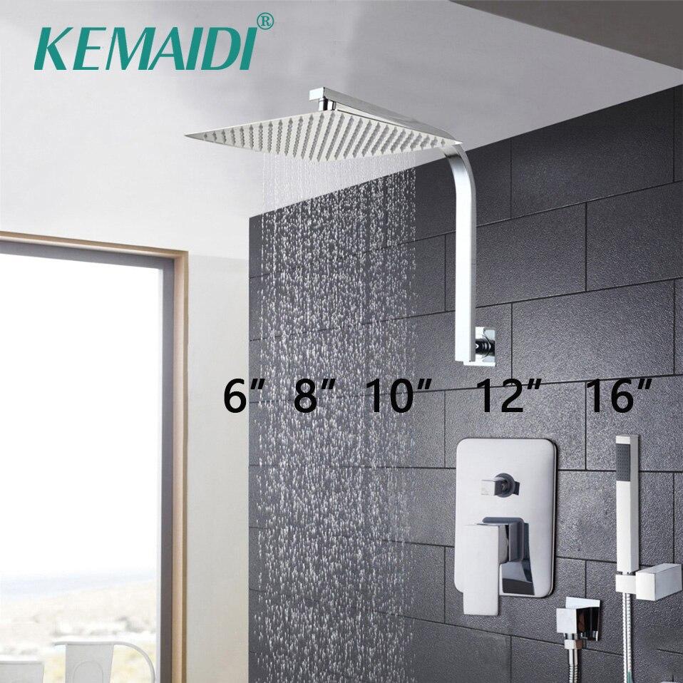 KEMAIDI Elegante Bathroom Wall Mounted Set Torneira Do Chuveiro Rainfall Cabeça + Cachoeira Chuva Chuveiro de Mão Do Banheiro Torneiras Misturadoras Torneiras