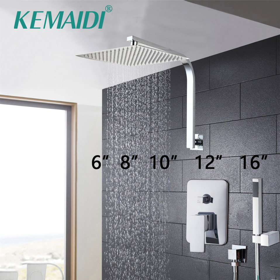 цена KEMAIDI Elegant Wall Mounted Bathroom Shower Faucet Set Rainfall Head +Mixer Taps Hand Shower Waterfall Rain Bathroom Faucets