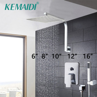 KEMAIDI Elegant Wall Mounted Bathroom Shower Faucet Set Rainfall Head +Mixer Taps Hand Shower Waterfall Rain Bathroom Faucets