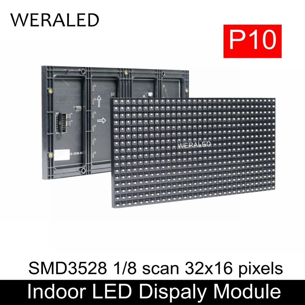 WERALED Indoor Full Color LED Video Wall P10 SMD3528 1/8 Scan Full Color LED Display Module 320x160mm 32x16 Dots Hub75 Ports