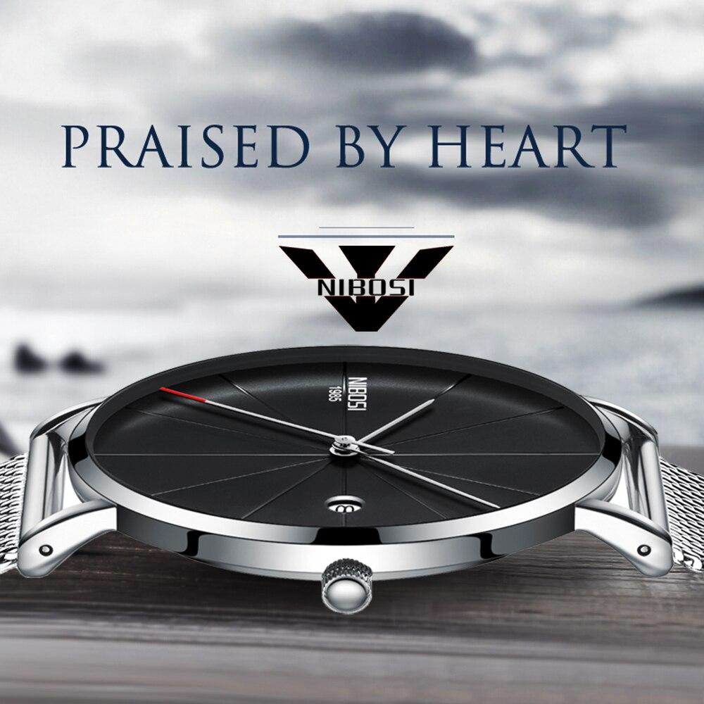все цены на NIBOSI Super slim Quartz Casual Wristwatch Business Top Brand Leather Analog Quartz Watch Men's Fashion 2018 relojes hombre онлайн