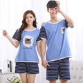1077 Couples 100% cotton Cat pattern summer Pajama suit