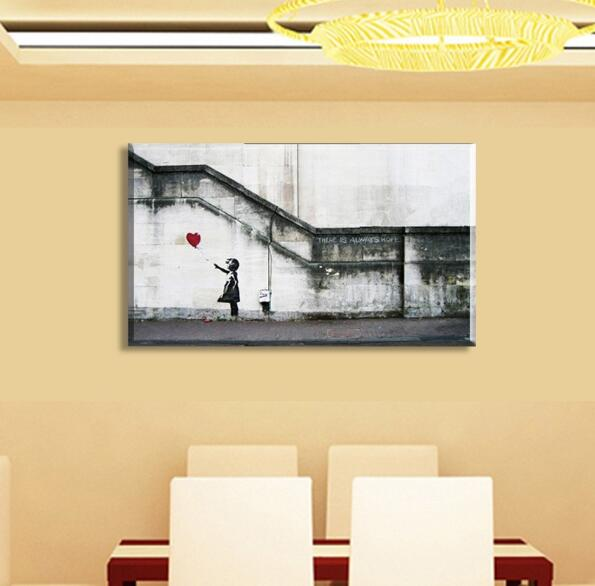Handpainted New Product HUGE BANKSY There Is Always Hope,wall Art ...