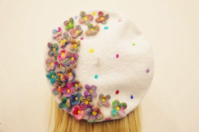 Принцесса сладкий лолита шляпа на заказ для 5-10days департамент лесного хозяйства руководство шерсть чистый белый берет новый цветы дизайн MZ06