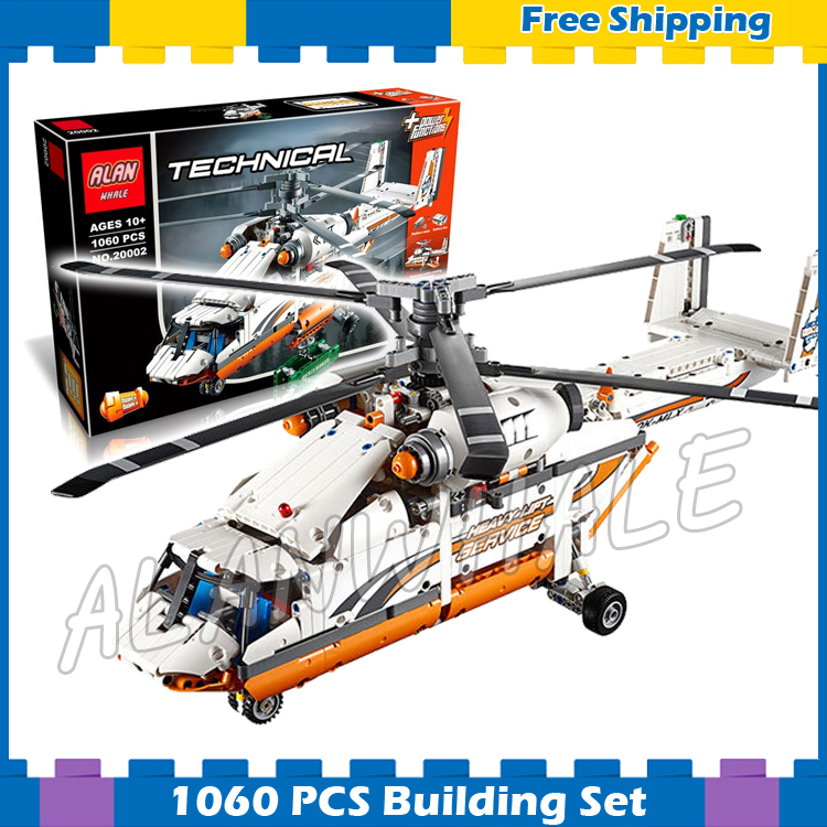 1060pcs 2in1 Techinic Motorized Heavy Lift Helicopter Tandem Rotor 20002 Model Building Blocks Gifts sets Compatible With lego 11types techinic power functions motorized moc m l xl servo motor battery box model building blocks toy set compatible with lego