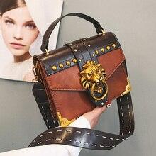 Bolsos de hombro de marca famosa de lujo para mujer, bolso con cierre de cabeza de león, bolso bandolera de cuero PU, bolsos de moda para fiesta