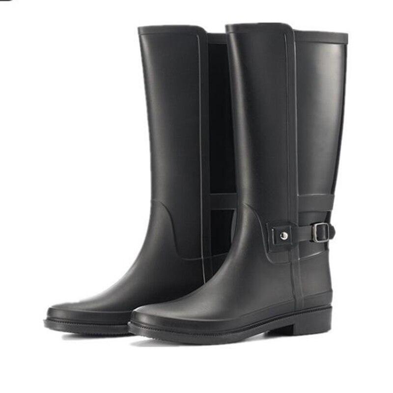 Ladies Womens Wide Calf High Waterproof Rain Boots Buckle Outdoor Low Flat Shoes