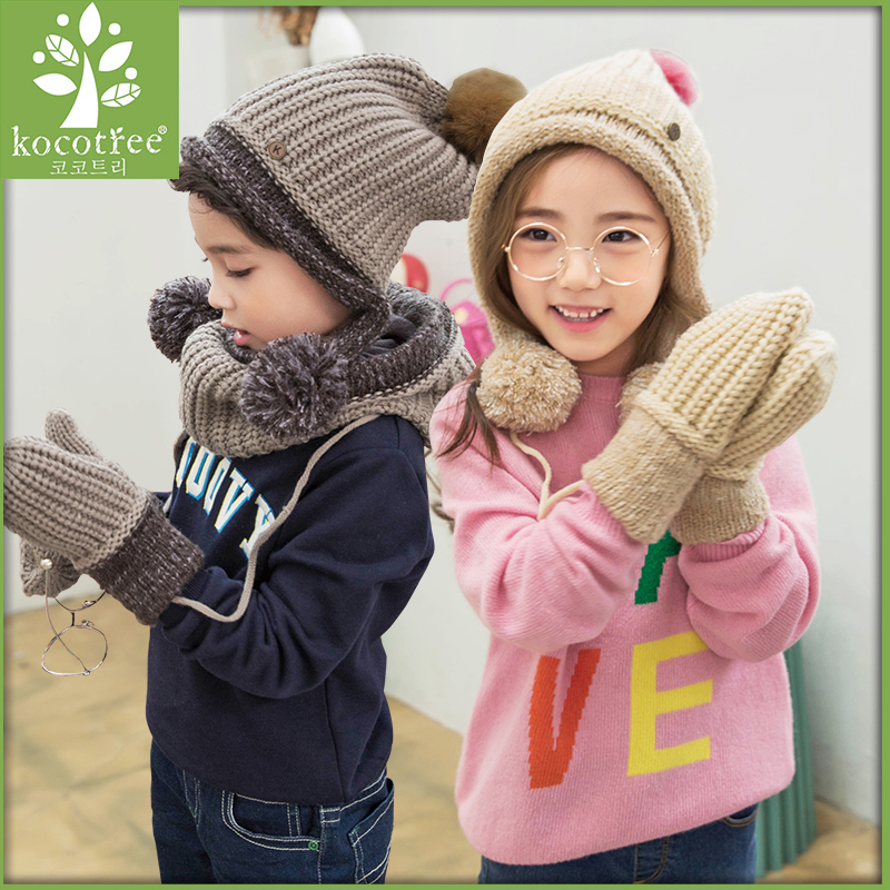 Kocotree Ages 2-13 baby hat Children Winter Hats For Girls&Boy Cotton Thick Warm Knitted Ears Beanie  Pompom Cap 2016 bonnet beanies knitted winter hat caps skullies winter hats for women men beanie warm baggy cap wool gorros touca hat