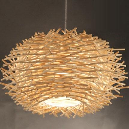 Ceiling Lights & Fans Trustful Rattan Man-made Nest Bird Cage Lamp Wood Pendant Lights Ac 110/220v E27 30/40/50cm With Incandescent Bulbs For Light Home Decor Pendant Lights
