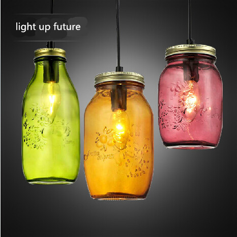 candy colorful hand made crystal glass jar bottle e27 pendant light for dining room living room AC 90-265V 1905 ark light free shipping hot selling 1pcs beer bottle glass pendant lamp glass stone colorful pendant light dining room tea room
