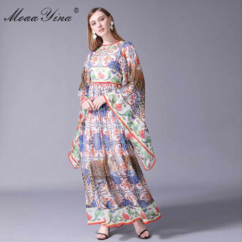 MoaaYina 高品質ファッションデザイナー滑走路ドレス夏の女性のバットウィングスリーブヴィホリデーボヘミアマキシドレス
