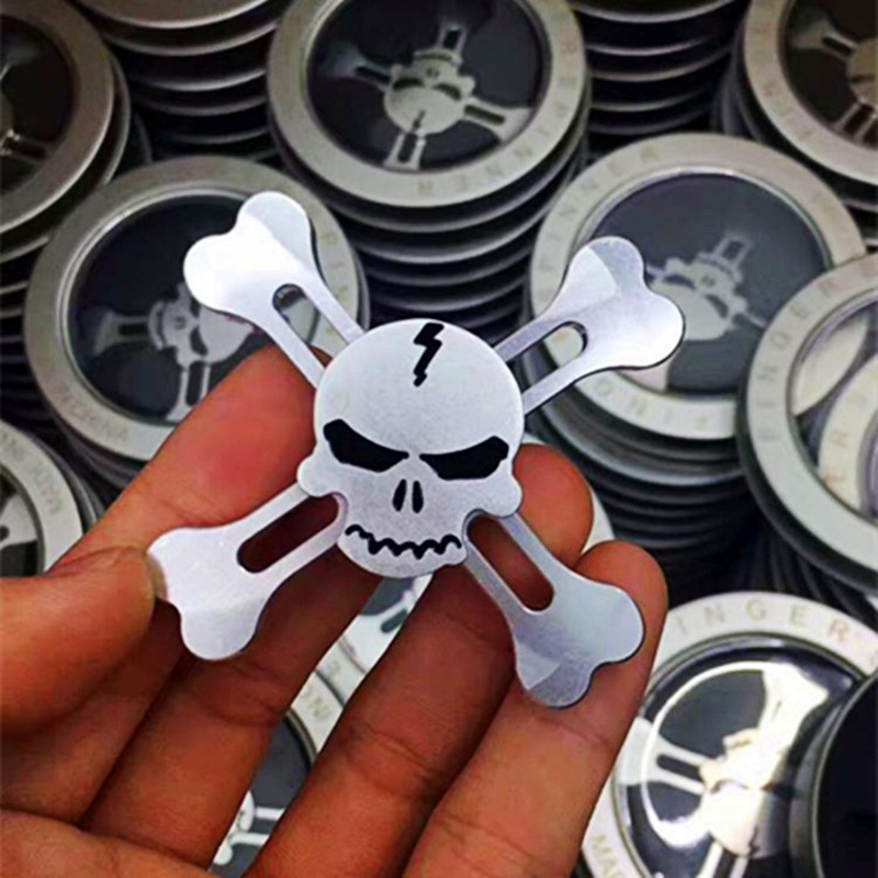 Original Fidget spinner Skull metal Alloy Triangle Gyro EDC Hand Finger spinner For Autism ADHD Anxiety