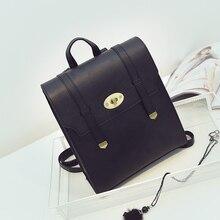 Женщины кожа рюкзак для подростков девочек мода hasp pu женский школьные сумки дизайнер минималистский дамы милые рюкзаки