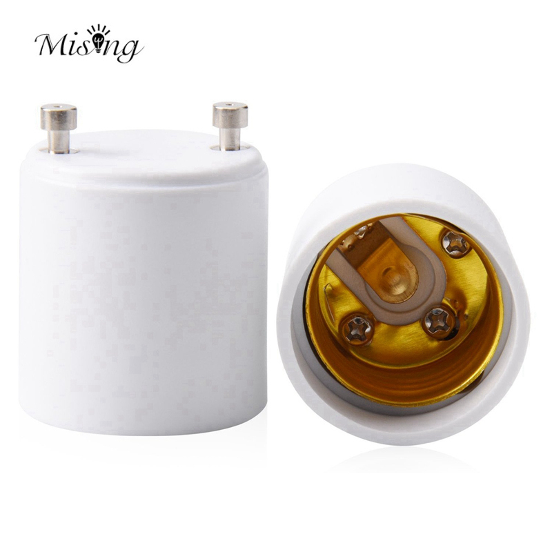 Mising 2Pcs GU24 To E27/E26 Sockets White LED Light Lamp Bulb Adapter Holder Socket