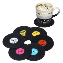 6 PCS Environmental Plastic Vinyl Record Table Placemats Simple and Creative Mug Coaster Heat-resistant Cup Coasters