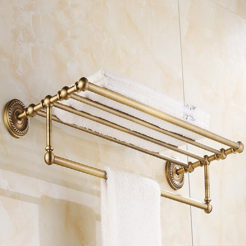 30~50cm Brass hotel bathroom bath towel holder, Square antique shelf ...