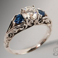 Hot Sale Thai Silver Vintage Man Women Ring 925 Silver Color Blue Crystal Inlaid Finger Ring Jewelry Top Quality gift Wholesale top quality princess kate blue gem created blue crystal 925 sterling silver wedding finger crystal ring brand jewelry for women