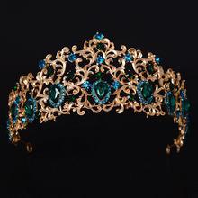 KMVEXO – couronne diadème de mariée en cristal, feuille de forêt, têtes dorées, bijoux de mariée, couronnes vertes, reine diadème, accessoires de cheveux de mariage