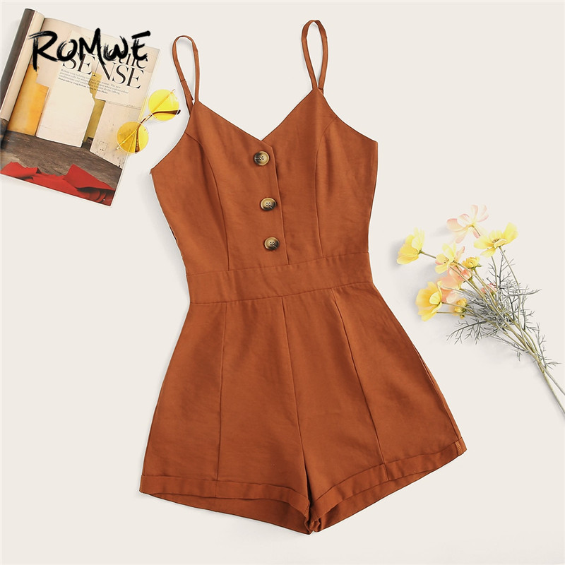 ROMWE Brown Button Front Mid Waist Casual Solid Cami Playsuits Women Summer Spaghetti Strap Sleeveless Wide Leg Hem   Rompers