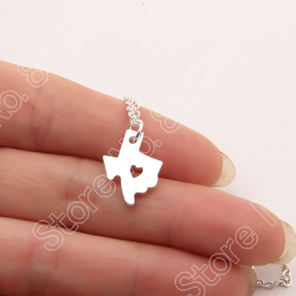 Small <font><b>Texas</b></font> Heart Necklace State Map Lover Heart Pendant <font><b>Travel</b></font> Souvenir Memorial Necklaces & Pendants Stocking Gift Lead Free