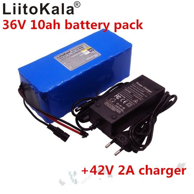 Liitokala 10AH 36 V vélo voiture électrique Scooter électrique haute capacité batterie au Lithium chargeur de batterie comprend le 42 V 2A