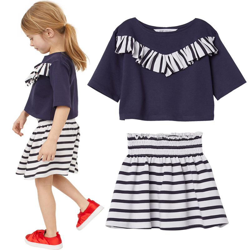 Navy Sailor Girls Clothes Suits Stripe Children Jumpers Skirts High Waist Baby Girl Blouse Pleated Shirt Fashion Cotton Outfits