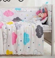 Juego de cama de bebé de 7 piezas de dibujos animados para cuna, ropa de cama de bebé (4 parachoques + sábana + almohada + edredón)
