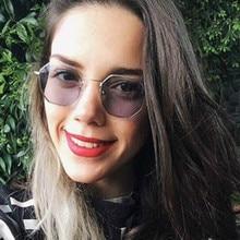 Ladies  hexagon sunglasse metal Women Brand Designer Fashion Rimless Clear Ocean Lenses Sun Glasses UV400