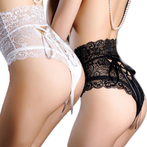 Sexy High Waist Lace Panties Women Ligerie Thongs G Strings Underwear Ladies Hollow Out Bowknot Underpants Imitation Lingerie
