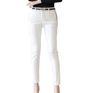 Image 4 - Trousers Women 2019 New  Ankle length Capris Female Leggings Pantalon Femme Workwear Slim High Waist Elastic Casual Woman Pants