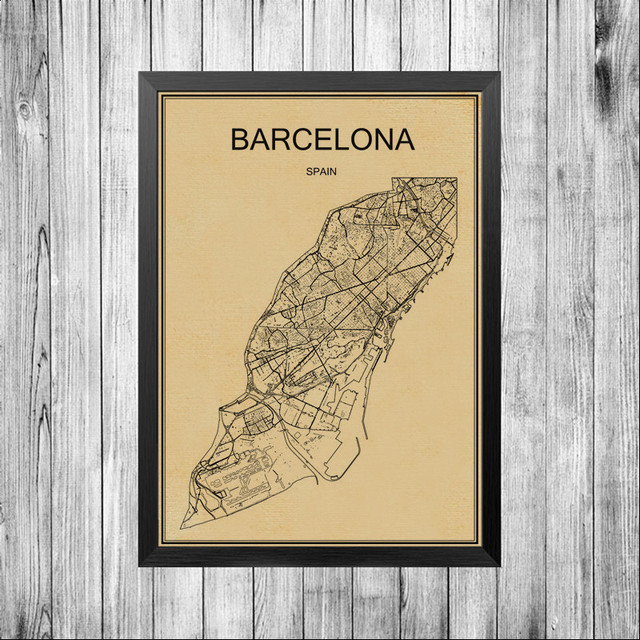 Canvas painting custom print world barcelona city art map wall sticker bar cafe pub living room