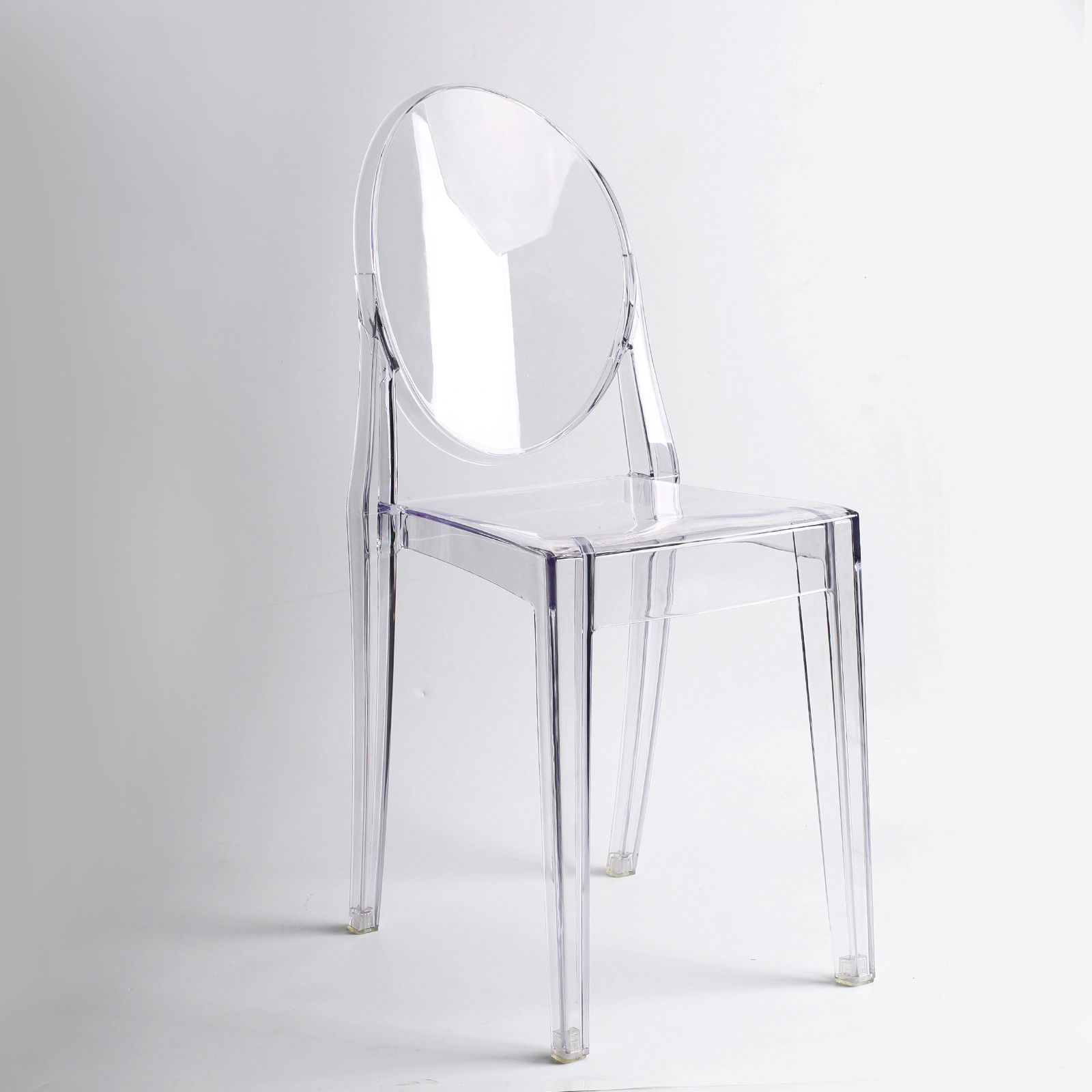 CLEAR GHOST TRANSPARENT MODERN PLASTIC DINING CHAIR / VANITY DRESSING CHAIR