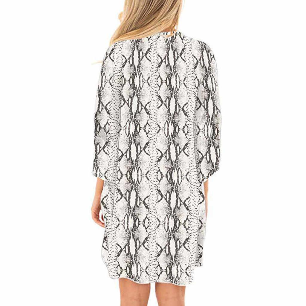 Feitong Mùa Hè Serpentine Bìa Loose Kimono Phụ Nữ Áo Blouse Khăn Choàng Cardigan Top Phụ Nữ Giản Dị 3/4 Ngắn Tay Áo Nữ Blusa Outwear