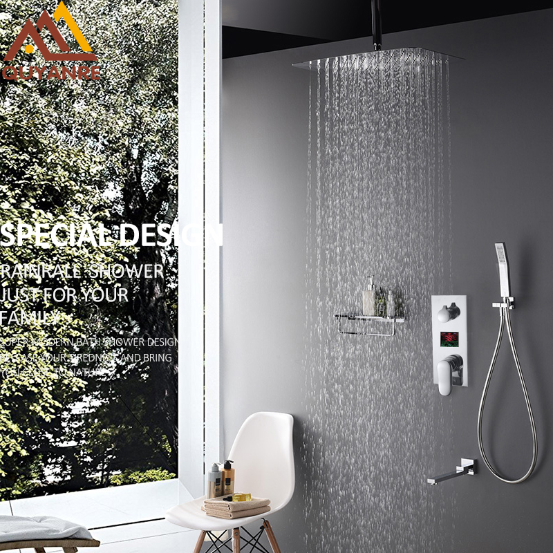 купить Quyanre Bathroom Shower Set 3 Functions LED Digital Display Single Handle Mixer Tap Conceal Shower Faucet Rainfall Bath Shower по цене 8159.7 рублей