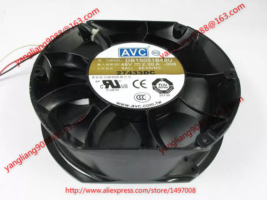 AVC DB15051B48U, -006 DC 48V 2.30A 150x150x51mm Server Round fan avc data1551b4l 17250 24v line server electronic enclosures fan
