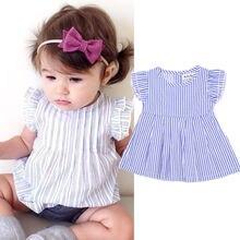 Симпатичные для новорожденных Одежда для девочек принцессы для девочек полосатый топ-туника с гофрированными рукавами детские рубашки для девочек Блузки для малышек 0-24 м
