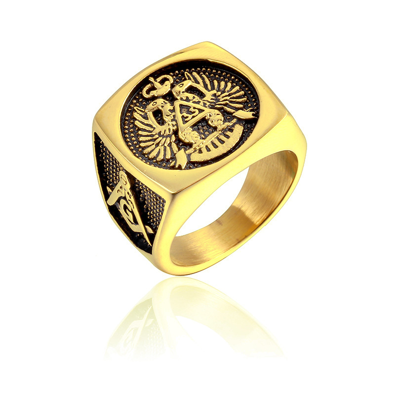 US 7 to 15 size Master Freemason Masonic Signet Rings eagle Titanium Stainless Steel Iced Out Bling Gold Ring for Men Jewelry цены