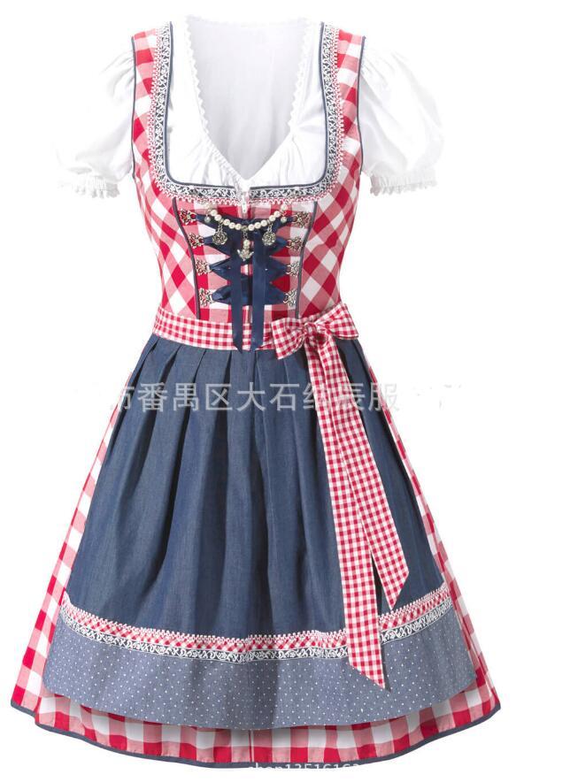 New Oktoberfest Bier Festival Oktober Dirndl Roten Trau Bauer Rock Kleid Schürze Bluse Kleid Deutsch Wench Kostüm Kleid