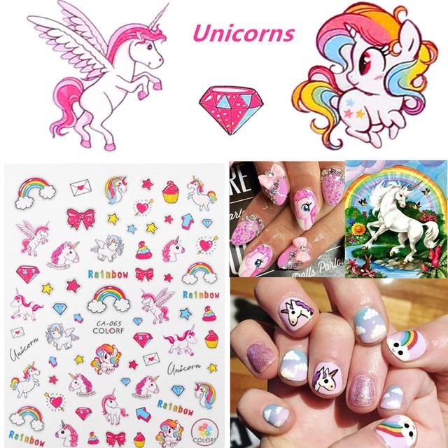 Pink Unicorn Nail Sticker 3D Wrap Rainbow Stars Decorations Cool Stickers Manicure Charms Fingernail Tips