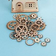 36PCS Mista Artesanato Em Madeira Roda de Engrenagem Padrão Oco Rodada Vapor Handmade Home Decoração Scrapbooking Enfeites DIY Craft
