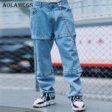Aolamegs Biker Jeans rasgados para hombres japonés Pantalones Hombre  Pantalones vaqueros ajustados holgados algodón Denim lápiz e7cc036bf22