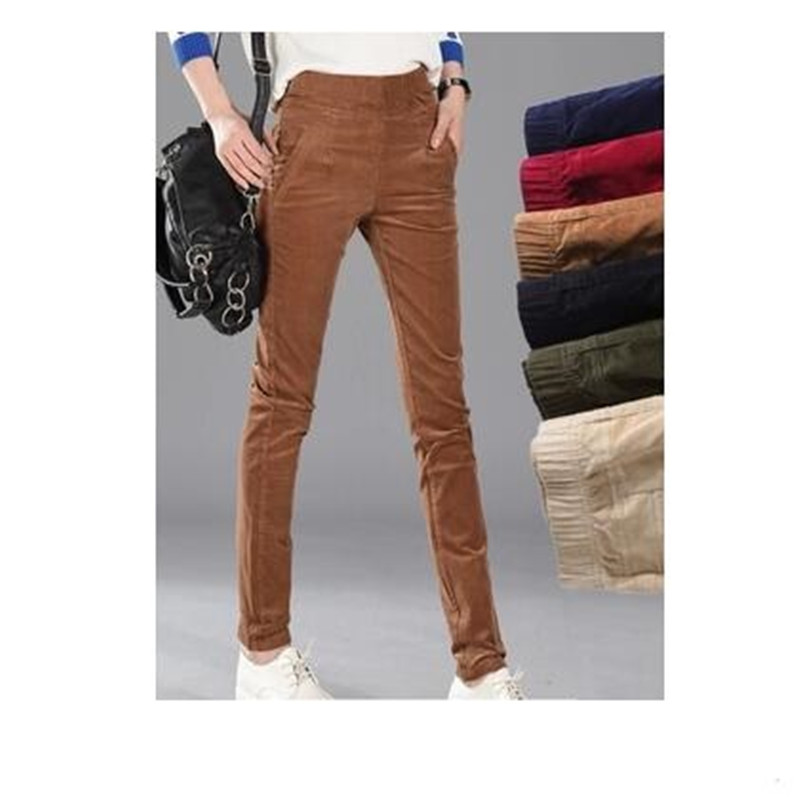 Feet Large Camel Trousers green Casual Wine Women's 6xl Elastic Blue khaki black Waist Size Pants Corduroy Women red New Spring High Quality royal Cotton fZFqwn