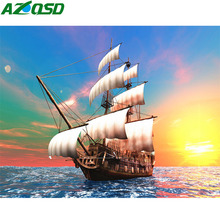 AZQSD Diamond Painting Sailboat Cross Stitch Home Decor Embroidery Landscape Rhinestones Picture Of Gift